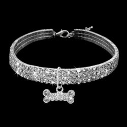 collier chien diamant strass