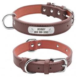 collier chien personnalisé cuir marron