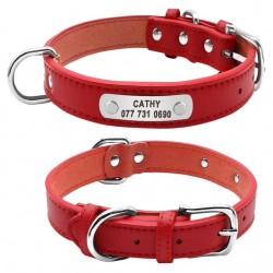 collier chien personnalisé cuir rouge