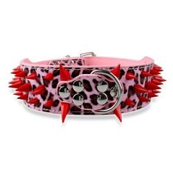 collier pou chien en cuir rose leopard à clou rouge