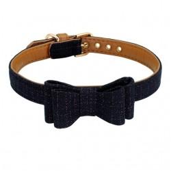 Collier chien avec noeud papillon noir