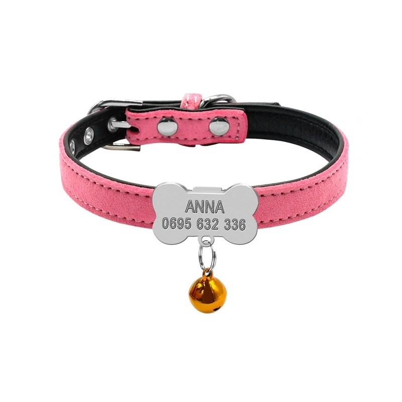 collier rose pour chien avec clochette et gravure personnalise