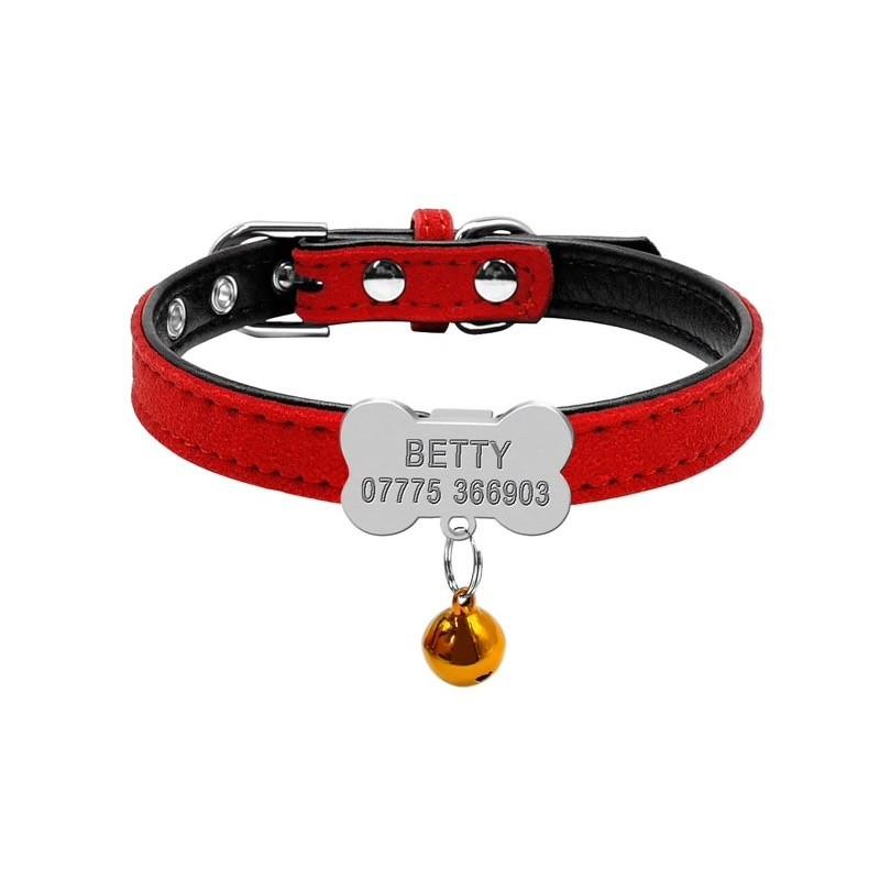 collier rouge pour chien avec clochette et gravure personnalise