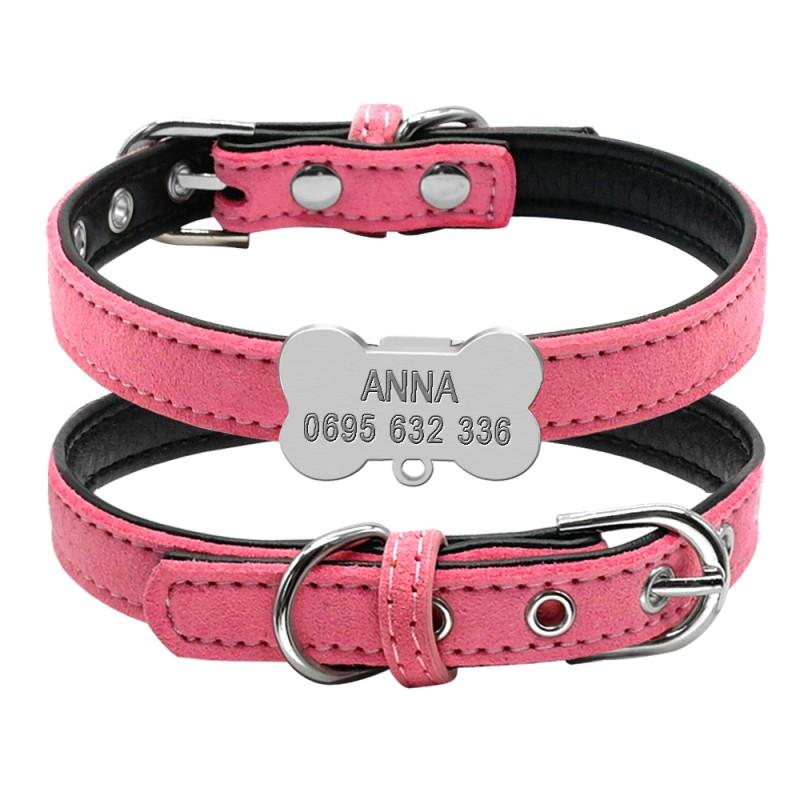 collier rose pour petit chien avec clochette et gravure personnalise